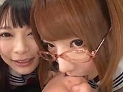 Steamy trio with Tokyo schoolgirs in hardcore fucking