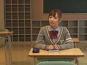 Schoolgirl sucks and fucks two guys during class