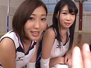 Hardcore gang bang session involving hot Asian beauty