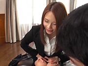 Cute Asian office lady has gets her shaved pussy climaxed