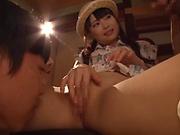 Cute Eri Natsume all alone fingering herself well