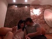 Cute Asian babe sucks cock before a doggy