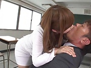 Hot teacher Nakamura Chie gets her horny wet cunt drilled