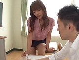 Sexy Asian teacher enjoys creampie delights picture 2