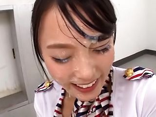 Pretty Asian babe Ai Yuuzuki gets her face filled with cum