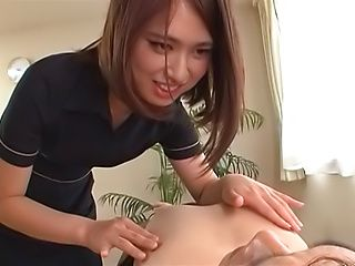 Hot Japanese massage lady has cumshot all over