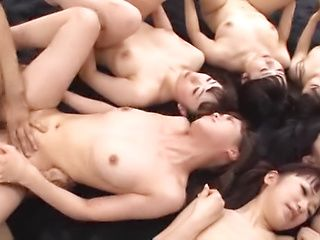 Hardcore gangbang scene involving hot Asian beauties
