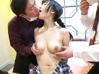 This sexy vixen gets her muff filled by four hard poles