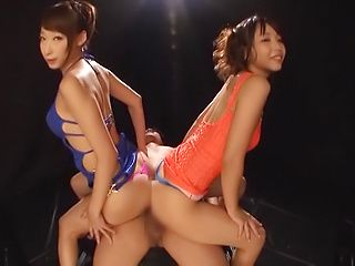 Claire Hatsumi and Yuki Kami in a hardcore threesome