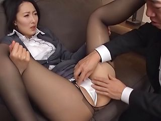 Eri Itou in balck stockings gets a hardcore banging